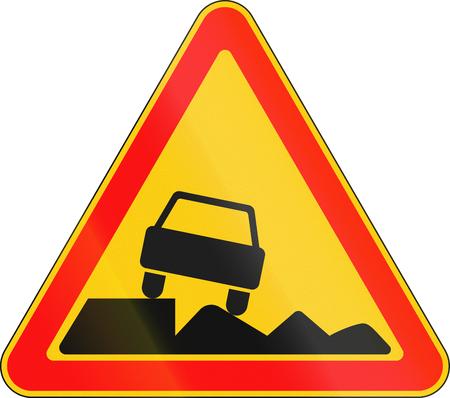 Warning road sign used in Belarus - Soft shoulder.
