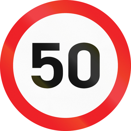 Road sign used in Cyprus - Maximum speed limit. Stock Photo