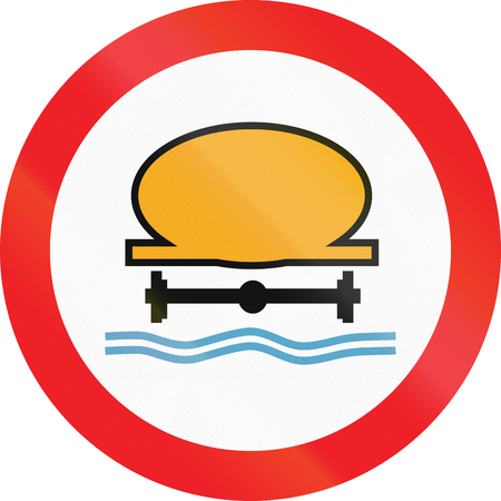 prohibit: Cyprian regulatory road sign - No vehicles carrying water pollutants. Stock Photo