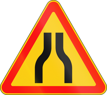 narrows: Warning road sign used in Belarus - Road narrows from both sides.