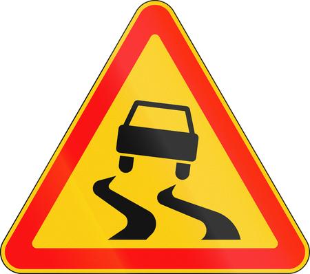 Warning road sign used in Belarus - Slippery road.