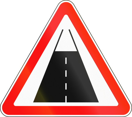 Belarusian road sign - End of the road with pavement surface.