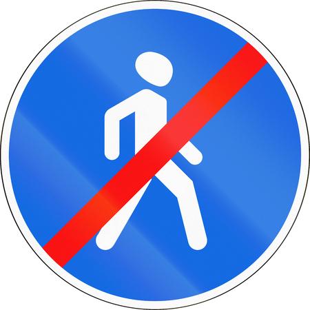 Belarusian regulatory road sign - no pedestrians.