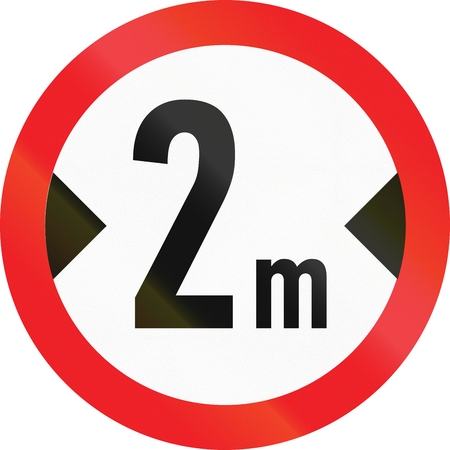 Road sign used in Cyprus - No vehicles having an overall width exceeding 2 meters.