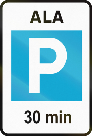 Road sign used in Estonia - 30 minute parking zone. Ala means zone. Stock Photo