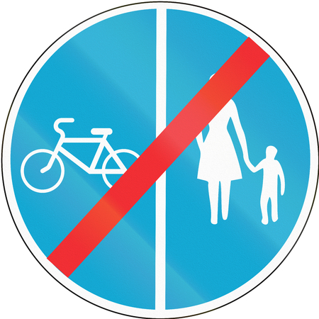 Road sign used in Estonia - End of separate lanes for pedestrians and Cyclists.