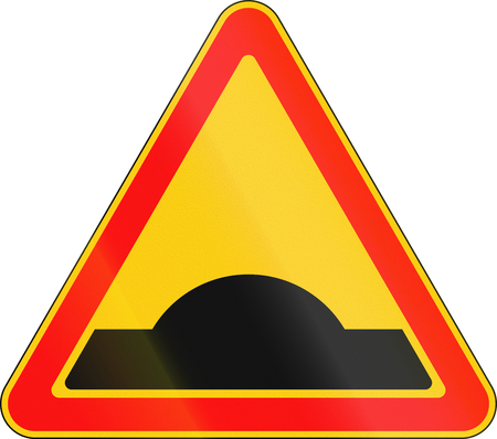 Warning road sign used in Belarus - Speed bump.