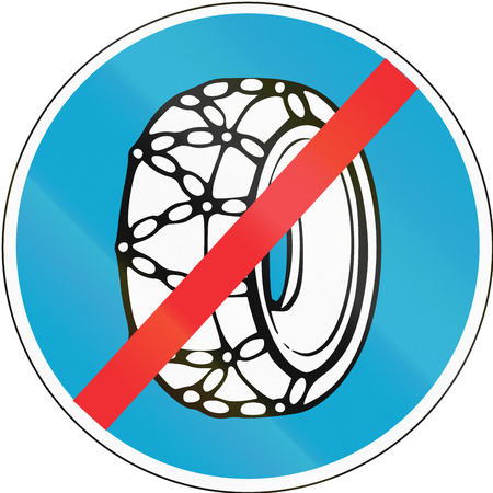 Road sign used in Estonia - Snow chains not required. Stock Photo