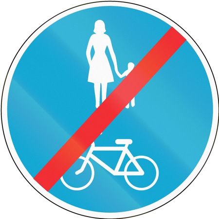 Road sign used in Estonia - End of shared lane for pedestrians and cyclists.