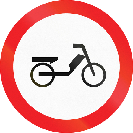 Road sign used in Cyprus - No mopeds.