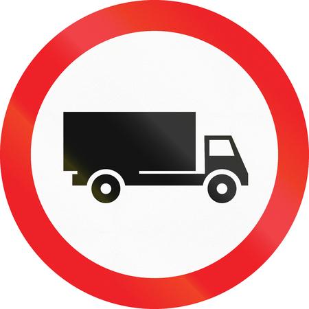 Road sign used in Cyprus - No lorries.