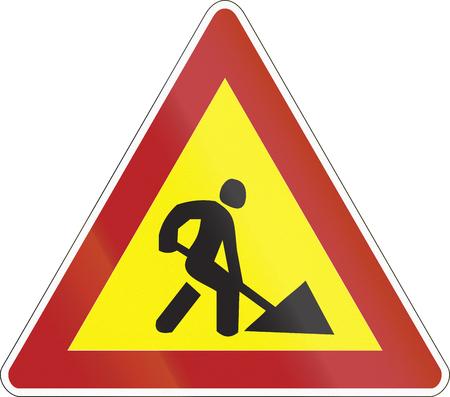 building site: Warning road sign used in Belarus - Road works.