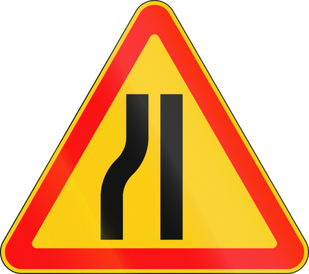 narrows: Warning road sign used in Belarus - road narrows on left. Stock Photo
