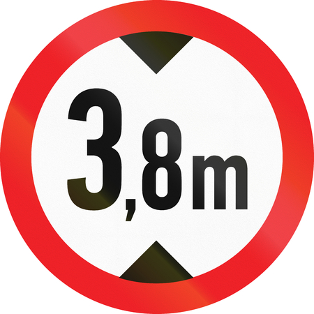 exceeding: Road sign used in Cyprus - No vehicles having an overall height exceeding 3,8 meters.