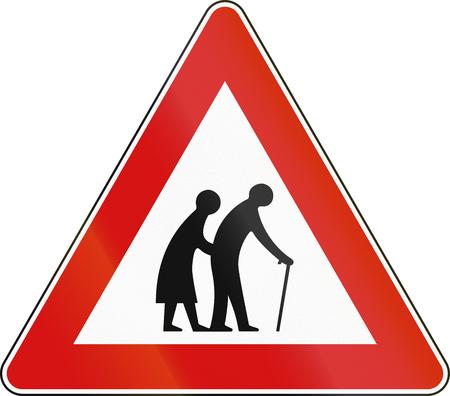 malta: Road sign used in Malta - Elderly people.