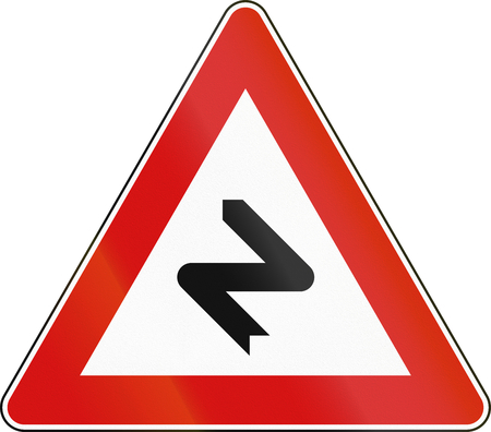 Road sign used in Malta - Dangerous curves to the right. Stock Photo