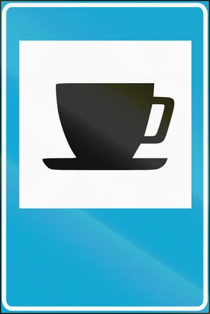 informational: Estonian informational road sign - Refreshments.