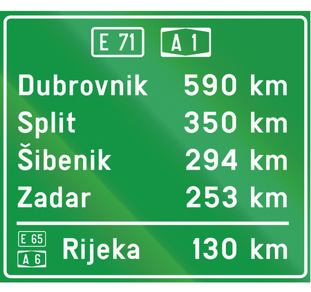 Information road sign used in Croatia with destinationas and distances.