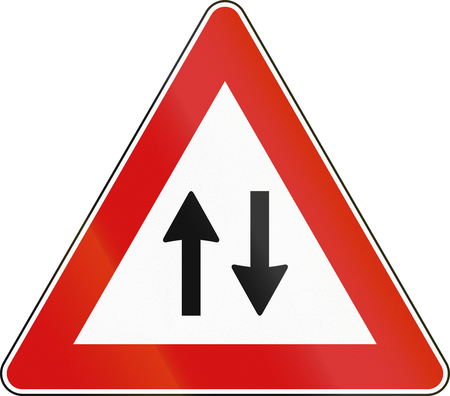 Road sign used in Malta - Traffic in both directions. Stock Photo