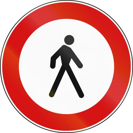 malta: Road sign used in Malta - No Pedestrians. Stock Photo