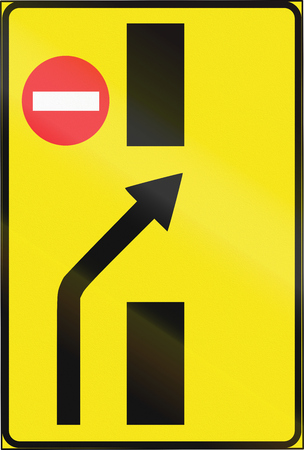 Estonian temporary informatory road sign - Lane crossover. Stock Photo