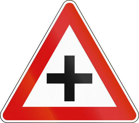 Road sign used in Malta - Intersection.