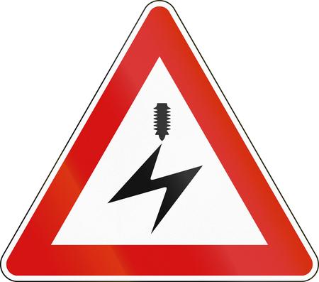 malta: Road sign used in Malta - Overhead power line.