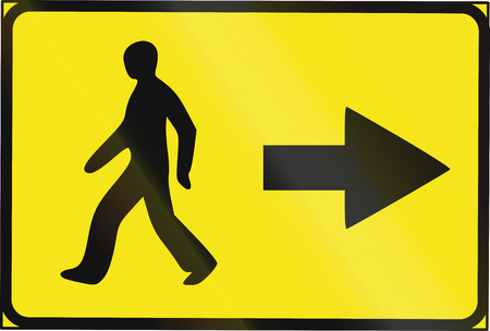 Estonian temporary informatory road sign - Direction for pedestrians. Stock Photo