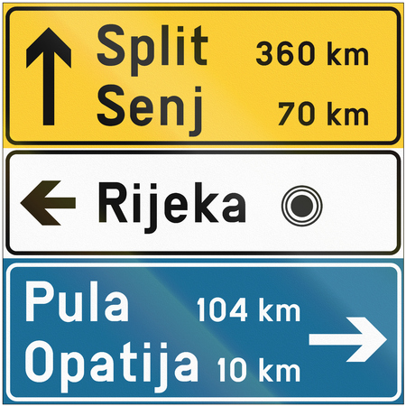 Stacked direction road sign used in Croatia. Banco de Imagens