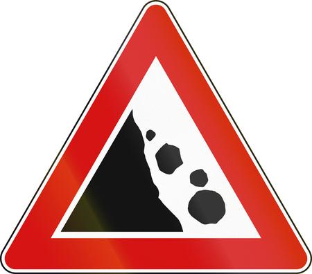malta: Road sign used in Malta - Falling rocks.