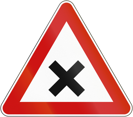 priority: Croatian regulatory road sign - Crossroads with right-of-way from the right.