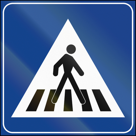 Road sign used in Malta - crosswalk. Stock Photo