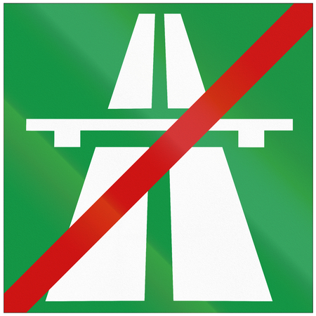 quadratic: Road sign used in Croatia - End of motorway. Stock Photo