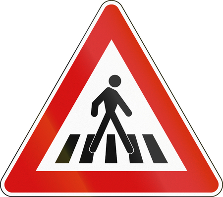 dog walking: Road sign used in Malta - Pedestrian crossing. Stock Photo
