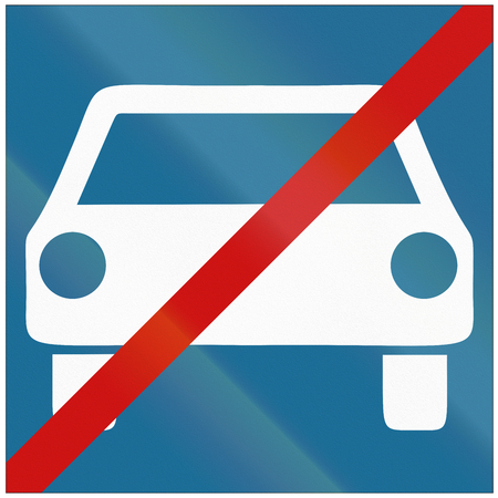 quadratic: Road sign used in Croatia - End of limited-access road. Stock Photo