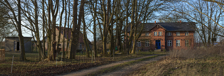 stitched: Panorama of manor house listed as monument in Jager near Greifswald, Mecklenburg-Vorpommern, Germany. Editorial