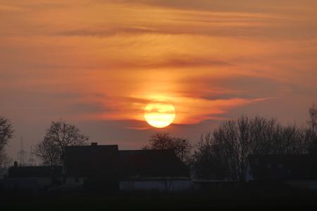 greifswald: HDR image of sunset near Greifswald, Germany.