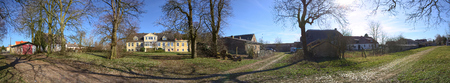 Panorama of magnificient manor house with garden in Dambeck, Mecklenburg-Vorpommern, Germany.