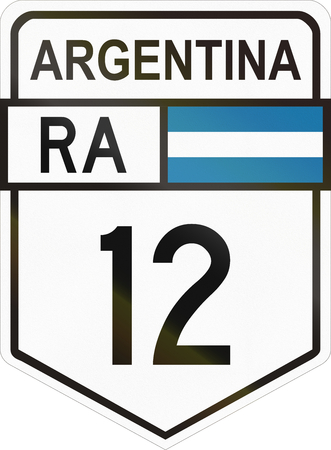 roadsign: Route sign of the Argentinian national route 12. Stock Photo