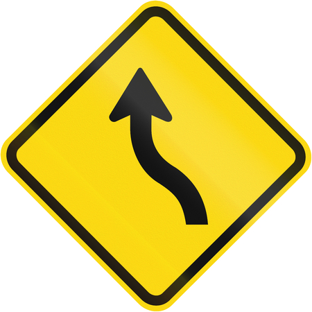 reverse: Road sign used in Brazil - Reverse curve less than 60 degrees, to left. Stock Photo