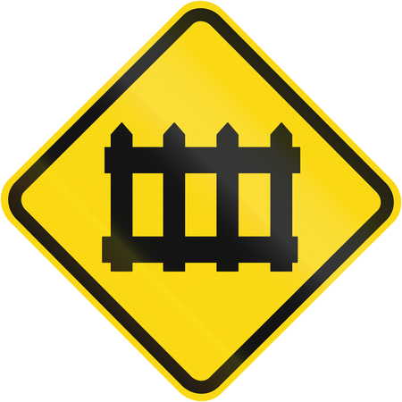 Road sign used in Brazil - Railway level crossing with barrier.