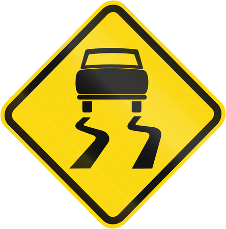 skid: Road sign used in Brazil - Slippery road surface.