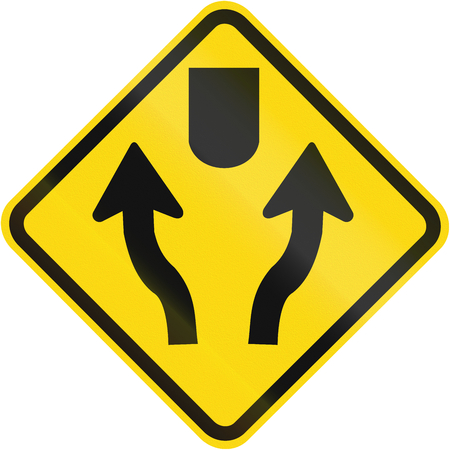 two lane highway: Divided highway warning sign used in Brazil.