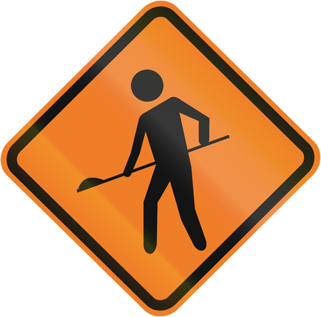 Temporary Road work warning sign in Brazil.