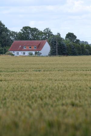 Kijk over het veld naar de historische boerderij Eichenhof (lit. eikenboerderij) in Jager, Mecklenburg-Vorpommern, Duitsland. Redactioneel