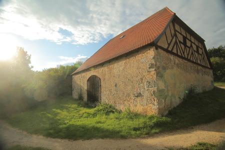 Historic half timbered barn in Pfaffenhofen, Upper Palatinate, Germany.