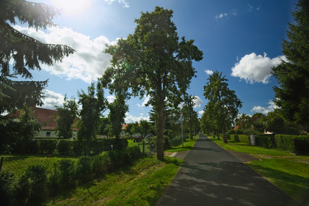 Houses listed as monuments in Kirchdorf, Mecklenburg-Vorpommern, Germany. Stock Photo