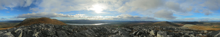360 Degree panorama on a subpeak of the mountain Hovaerken in Sweden.