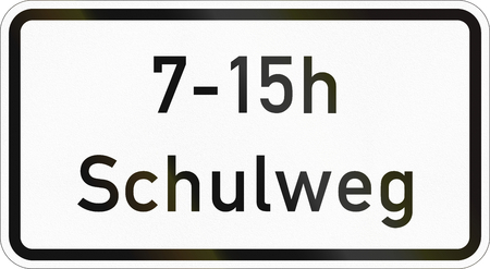 Supplementary road sign used in Germany - Way to school. Stock Photo