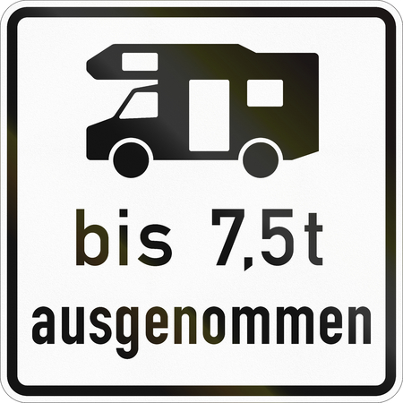 Supplementary road sign used in Germany - Except caravans under 7.5 tons. Stock fotó